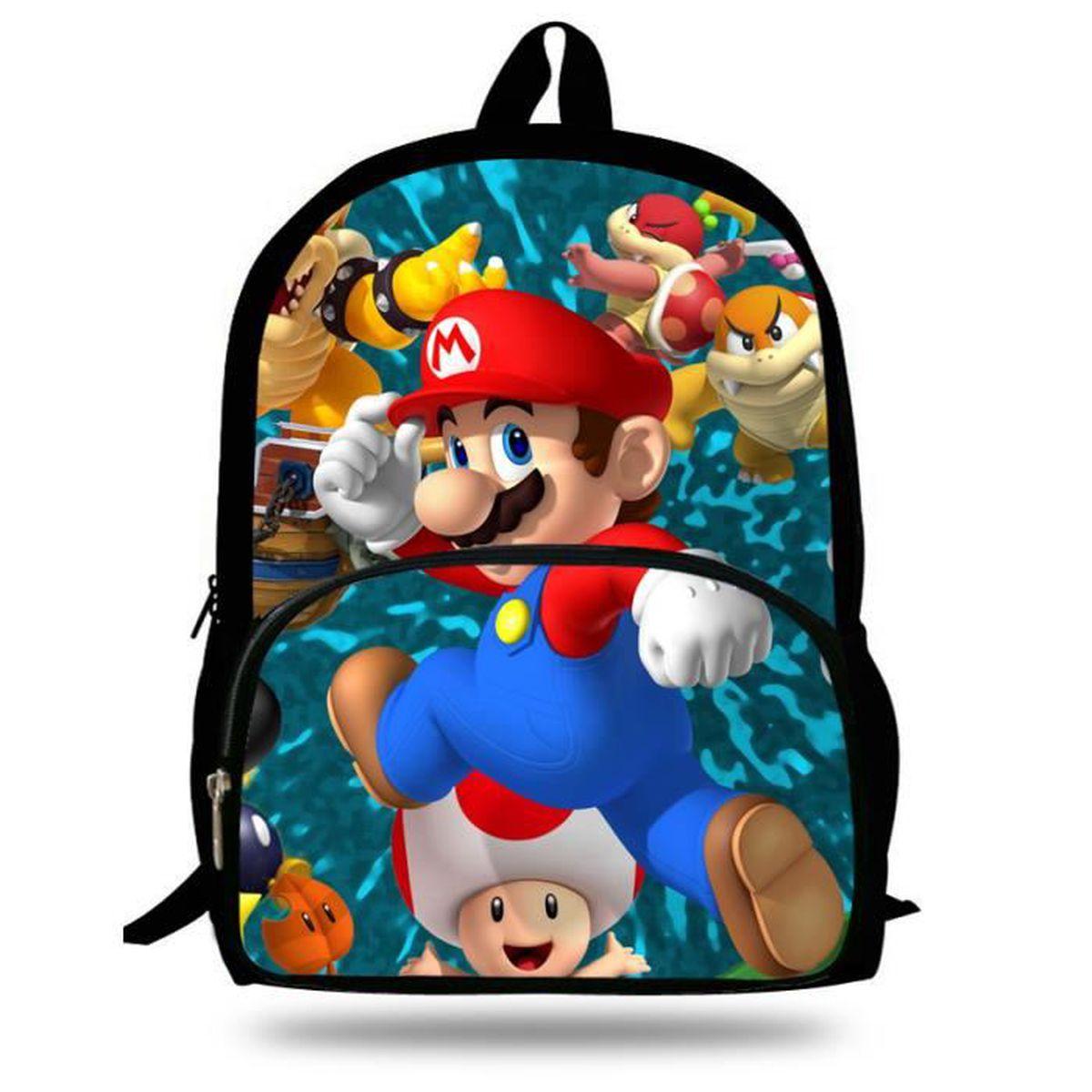 Veewow 16 Pouces Beaux Enfants Sacs Super Mario Patron Sacs