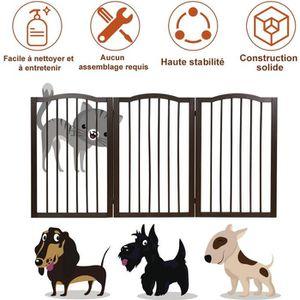 BARRIÈRE SÉCURITÉ CHIEN Barrière de Sécurité Porte pour Animaux 3 Pans Gri