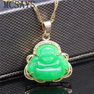 MCSAYS Collier avec Pendentif en Jade et Jade Chinoise AAA Tibet Vert