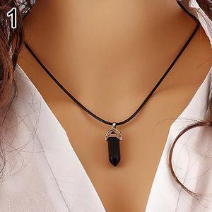 Collier Pendentif Cristal Pierre précieuse translucide coloré noir corde chaîne TRANS