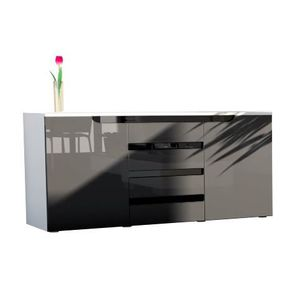 BUFFET - BAHUT  Bahut blanc-gris-noire-2 compartiments