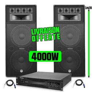 PACK SONO Pack Sonorisation Amplificateur 2x1000W SA2000 IBI