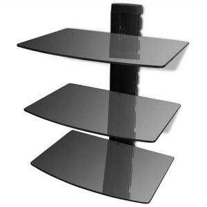 ETAGÈRE MURALE Étagère murale noire à 3 tablettes en verre pour D