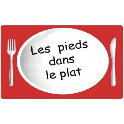 Grand Tapis De Cuisine Soft Design Humour Pieds Dans Le Plat 45x70cm Rouge