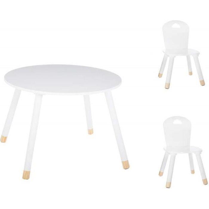 Set Table douceur blanche + 2 chaises douceur blanches Atmosphera