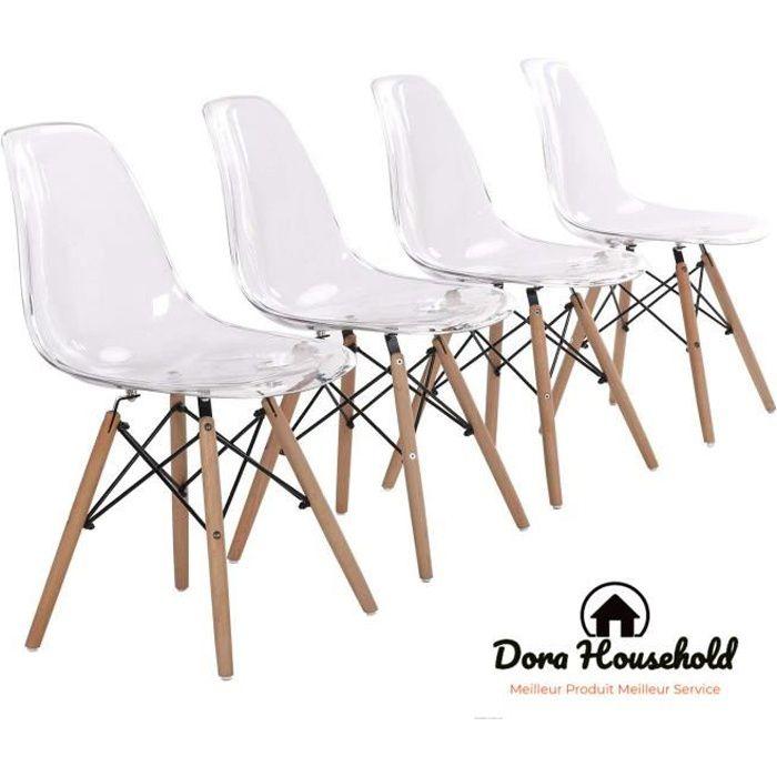 Dora Household Lot de 4 chaises Transparent design tendance rétro bois chaise de salle à manger