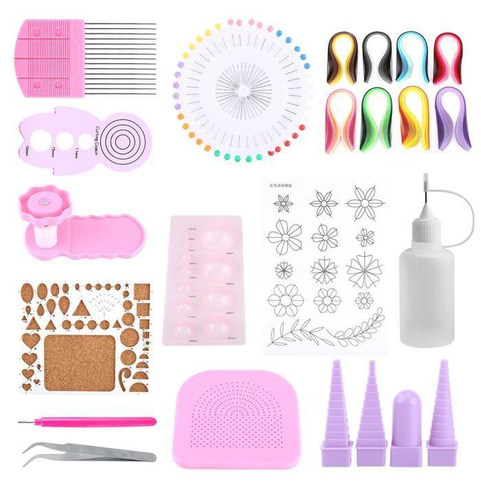 14 pcs Quilling papier ensemble DIY matériel de dessin l'outil papier de couleur pour décoration bureau et maison