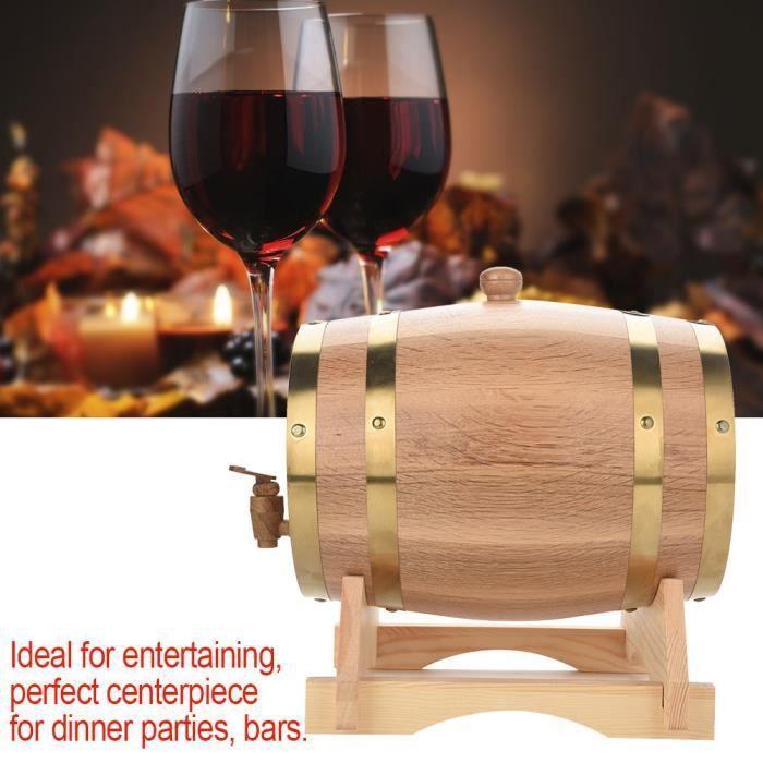 Tonneau de Vin en Bois de Chêne avec Support Récipient pour Vin Distributeur à Vin en bois Fût à Vin pour Stockage de Vins Prat
