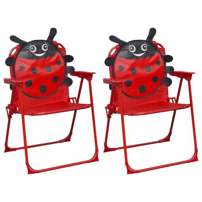 XIXI Chaises de jardin pour enfants 2 pcs Rouge Tissu