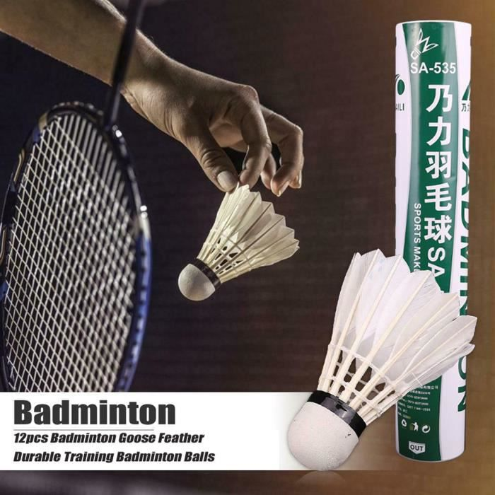 【KIT DE BADMINTON】12pcs volants de badminton balles de badminton durables en plumes pour la formation_YU1399