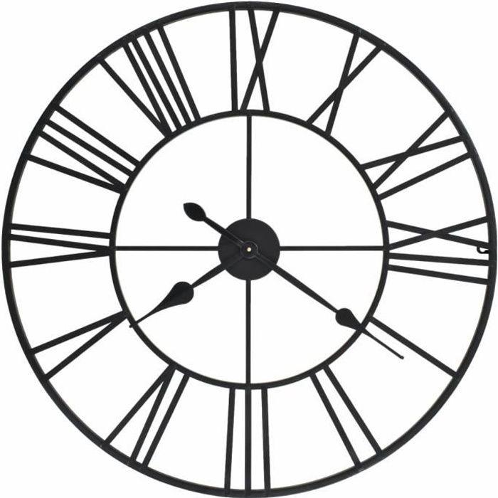 FAN Horloge murale vintage avec mouvement à quartz Métal 80 cm XXL☺☻1