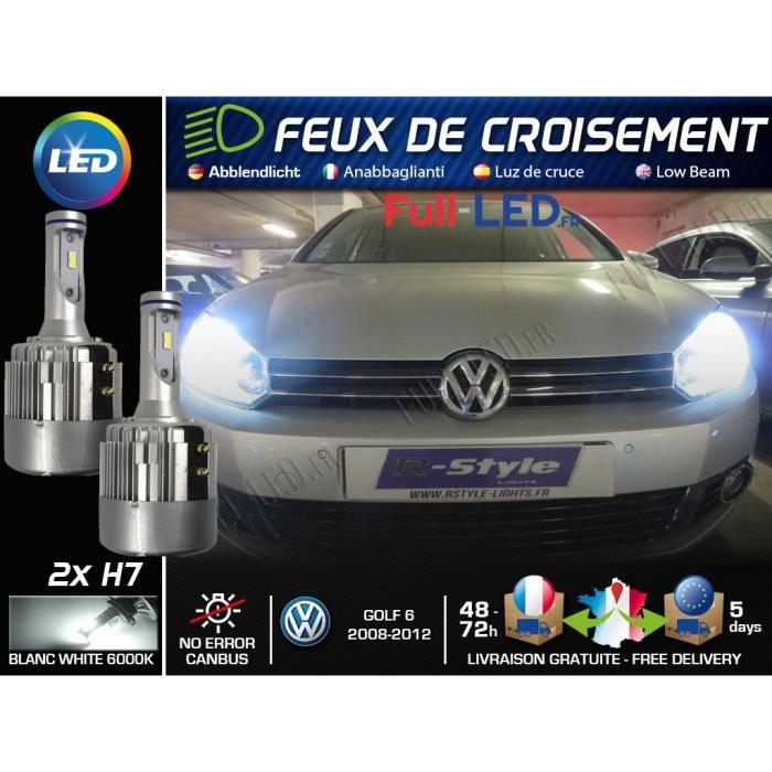 Ampoules LED H7 - Spécial Volkswagen Golf 6 - Feux de croisement