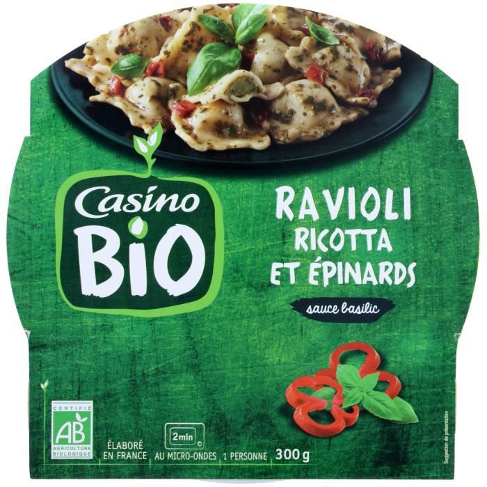 CASINO Ravioli Ricotta et Epinards Bio - 300G