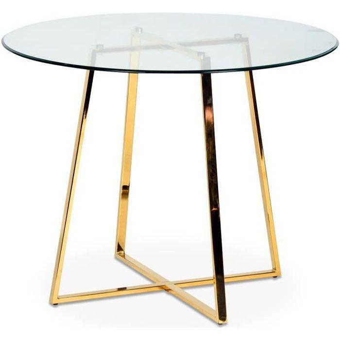 Table ronde en verre pied métal doré