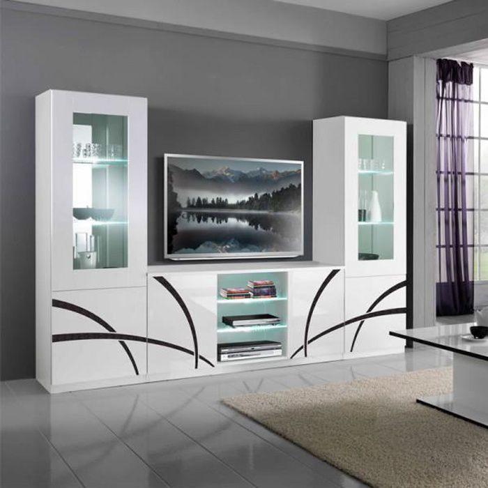 Composition TV Blanc/Blanc à LEDs - CROSS - Noir et Blanc - Verre / Bois - L 270 x l 47 x H 181 cm - Meuble tv