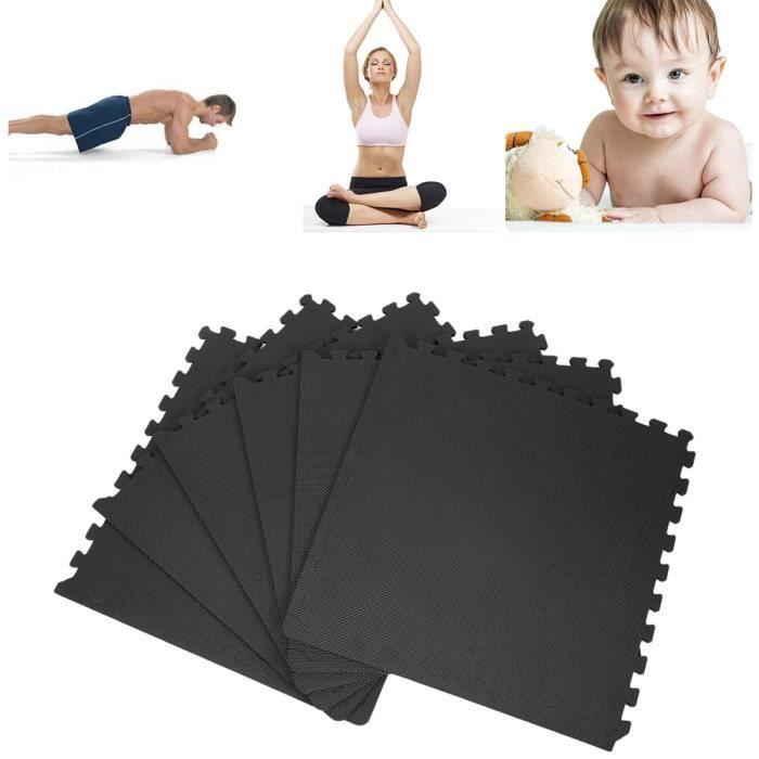 6Pcs tapis de protection en mousse Pour Sport Yoga- Noir
