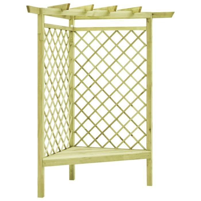 KING•4859Pergola de jardin Pergola d'angle Voûte de jardin-Arche de jardin-Arceau à Rosiers Pergola à appentis avec siège 130x130x19