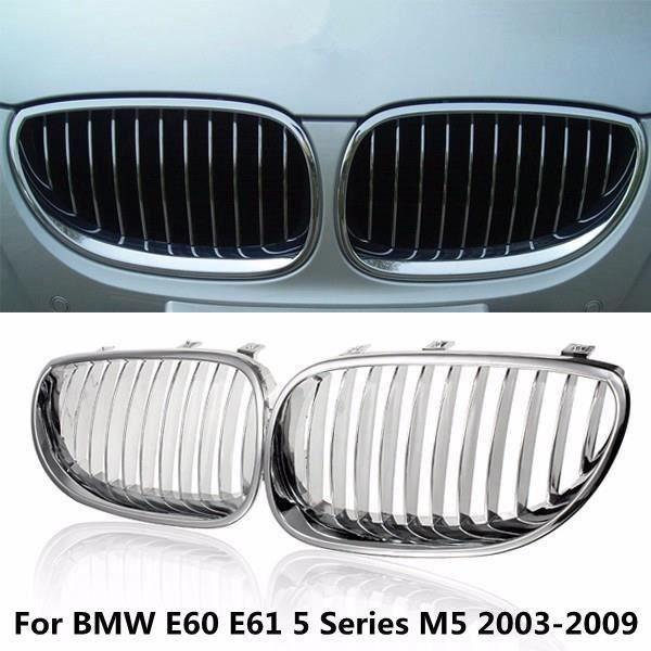 U 2Pcs Calandre Grills Avant Pour BMW E60 E61 Séries M5 03-09 525xi 528i 535i Argent Ve62023