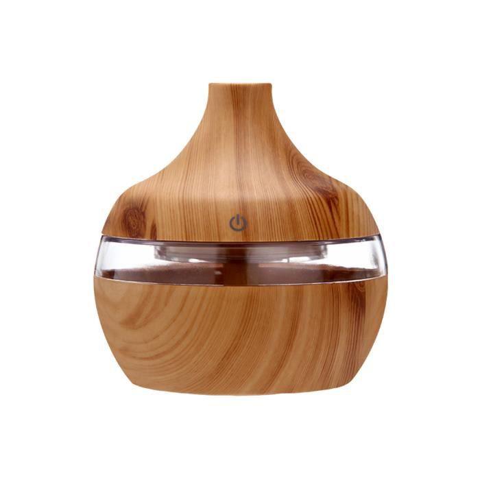 Diffuseur d'huile essentielle de grain de bois humidificateur d'air ultrasonique spray d'aromathérapie 300 ml-abricot