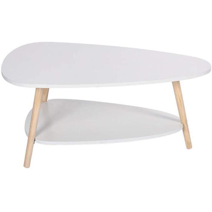 TABLE GIGOGNE YJIIJY Table Basse Ovale scandinave, Table de Salon avec 2 &Eacutetag&egravere, Table d&rsquoAppoint en Bois, T30