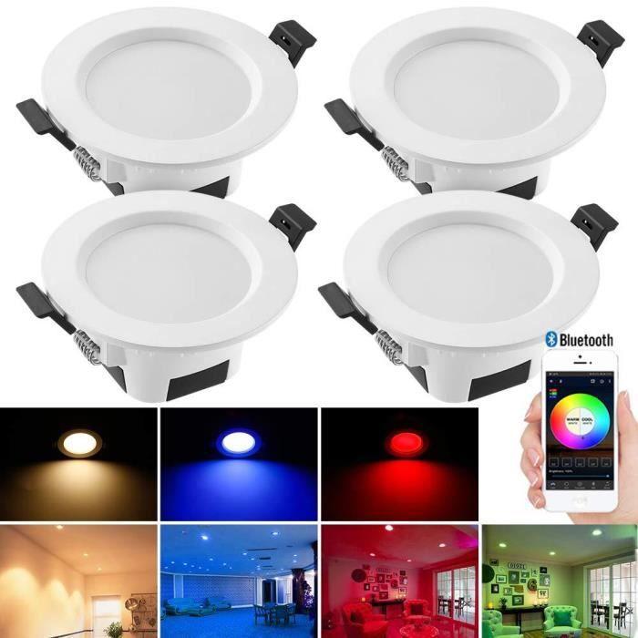 Bluetooth Mesh 5W Spot Led Encastrable RGBWC (RGB + Blanc froid + Blanc chaud) Plafonnier Lampe, éclairage plafond encastré pour