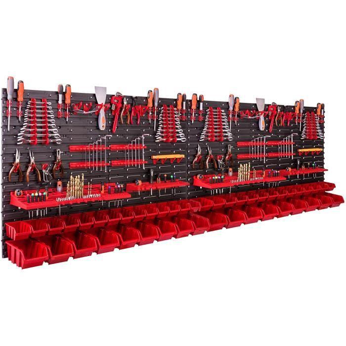 Système de rangement mural 230 x 78 cm Support à outils 46 pièces Étagère de rangement modulable pour outils avec boites de ran 36
