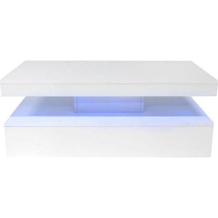 Fdit table basse LED Table basse à haute brillance blanche de sofa de table avec des lumières de LED pour la chambre à coucher de