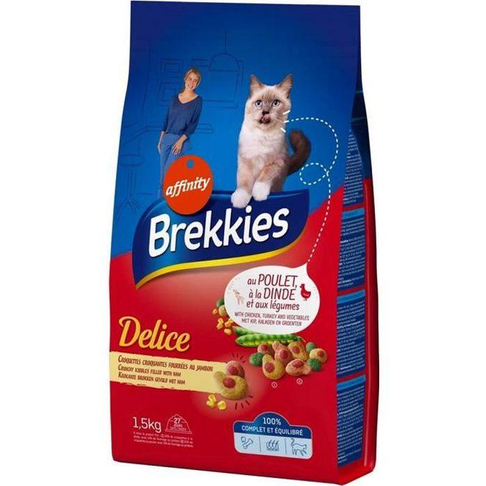 Brekkies Delice Chats Croquettes Croquantes Fourrées au Jambon au Poulet Dinde et Légumes 1,5Kg (lot