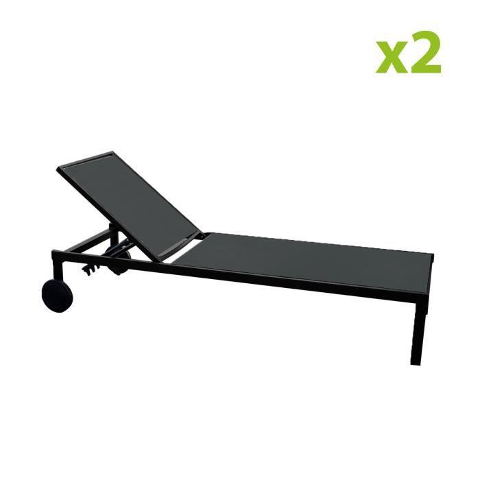 Cuba noir x2 : lot de 2 bains de soleil inclinables en aluminium et textilène avec roulettes