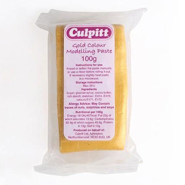 Pâte alimentaire à modeler couleur or de 100 g pour apporter un air de fête à vos préparations.