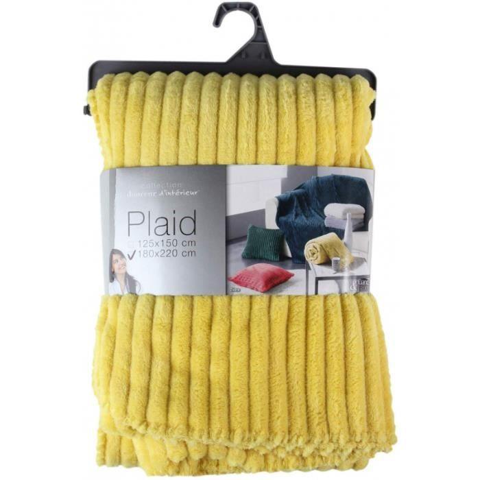 Plaids & couvertures - Plaid 100% polyester - 180 x 220 cm - Flanelle jacquard uni - Zeline jaune