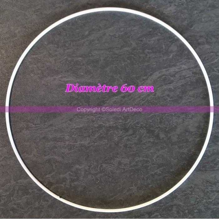 Grand Cercle métallique blanc diam. 60 cm pour abat-jour, Anneau epoxy blanc Attrape rêves - Unique