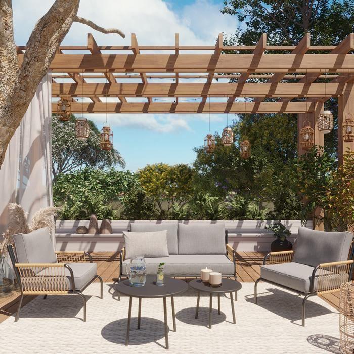 Salon de jardin 4 places avec 2 tables basses structure en aluminium et corde en résine - Collection Tonia - ELLE DÉCORATION