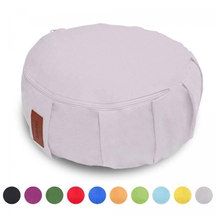 GORILLA SPORTS coussin de méditation rose pastel - Hauteur d'assise 18 cm - coussin de yoga avec rembourrage en balles d'épeautre -