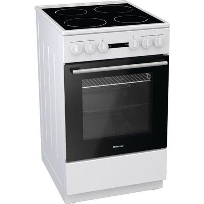 Hisense HE51011AW - Cuisinière table vitrocéramique-4 foyers - Four électrique-68L- Classe énergétique A - L50XH85 - Blanc