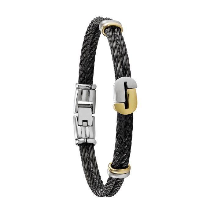 Jourdan Bijoux - Bracelet homme - MG009H - Câbles noirs - Logo J Bicolore