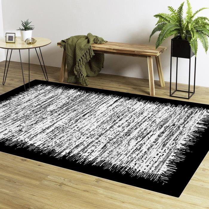 Tapis de salon carré Gris bord Noir 200x200cm