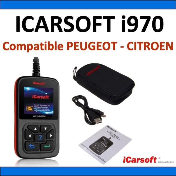 Interface de diagnostic iCarsoft i970 compatible avec véhicules PEUGEOT et CITROEN - Diagnostic Tous