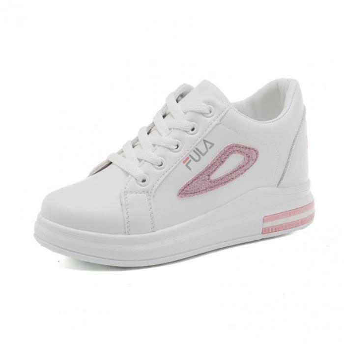 Femme Baskets Compensées Wedge Heel Chaussures de Sport Running  Mode Entraînement Respirant Chaussures Cuir Lacets Rose