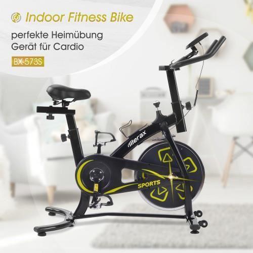 Stocké en Europe !Vélo d'appartement, X-vélo d'intérieur avec console LCD, siège et guidon réglables noir-jaune