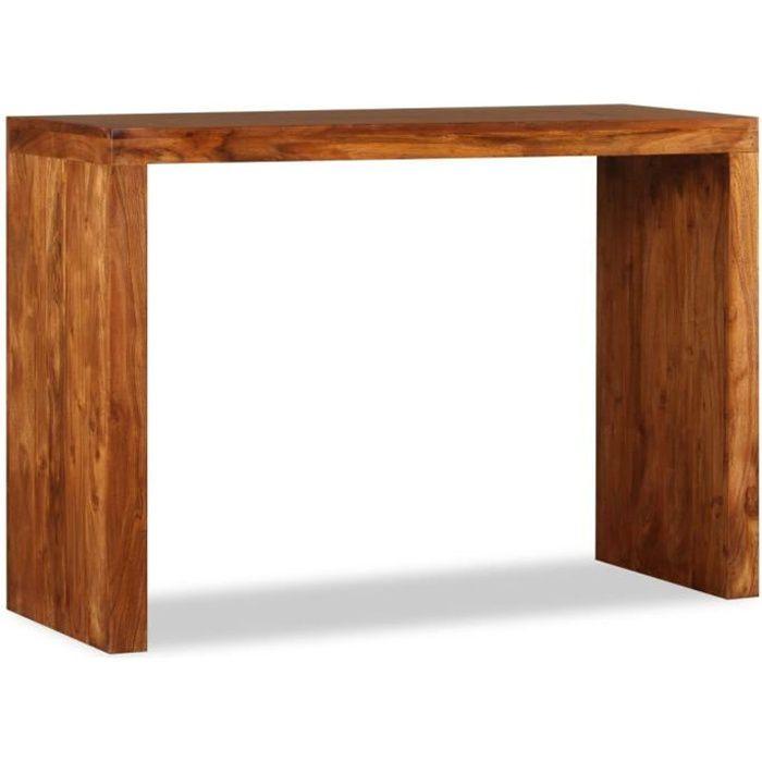Luxueux Table console Bois massif avec finition en Sesham 110x40x76 cm
