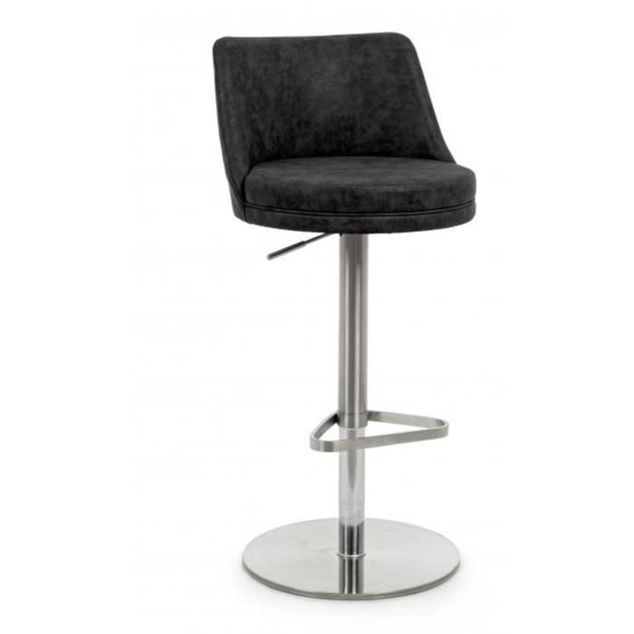 Tabouret de bar coloris anthracite - L 44 x P 45 x H 80 - 105 cm