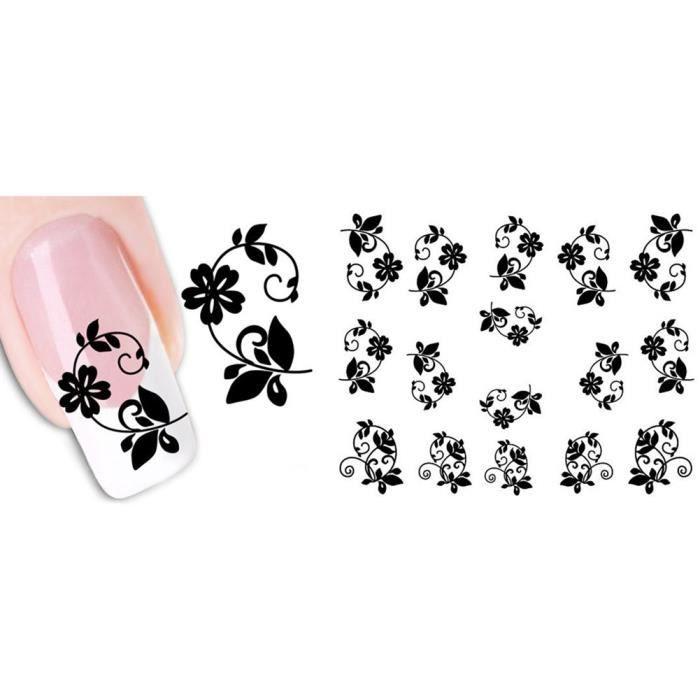 2 Feuilles Femme Exquis Nail Stickers Fleurs Autocolnts à Onmme Exquis Nail Stickers Fleurs Autocolnts à Ongles pour Nail