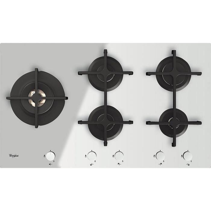 Whirlpool GOA 9523-WH, Intégré, Cuisinière à gaz, Verre, Blanc, Fonte, 1000 W