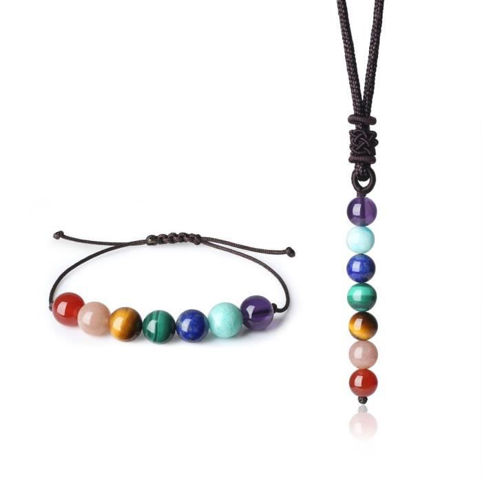 Womens 8mm 2 Pack Reiki Healing 7 Chakra Stones Bracelet And Necklace Set BF3R0