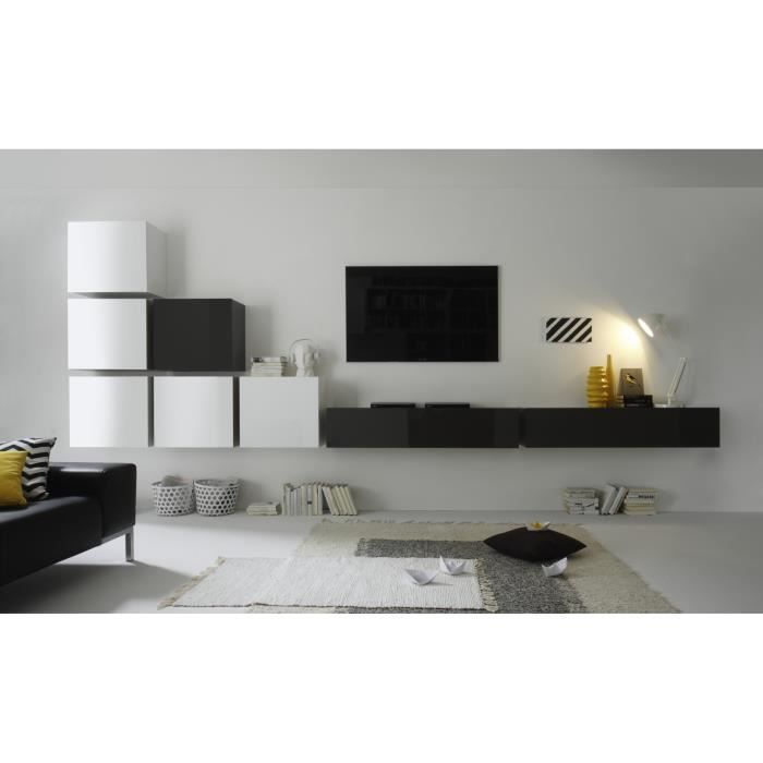 Meuble cubique laqu blanc brillant new box meuble house - Meuble blanc laque brillant ...