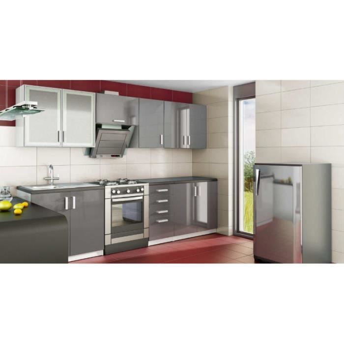 Cuisine Equipee Moderne Grise Nerou Meuble House Achat Vente