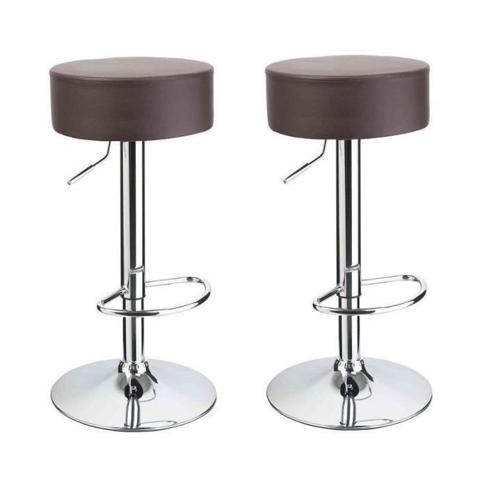 lot de 2 tabourets de bar marron 1209041 achat vente tabouret de bar cuir acier cdiscount. Black Bedroom Furniture Sets. Home Design Ideas