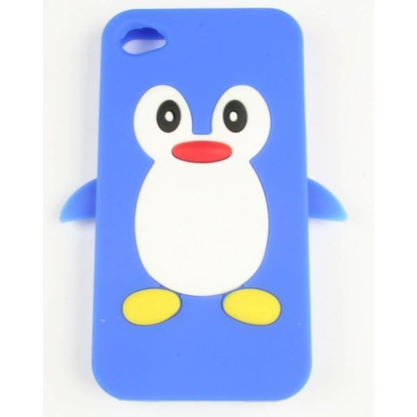 coque iphone 4 4s bleu pingouin silicone achat coque. Black Bedroom Furniture Sets. Home Design Ideas