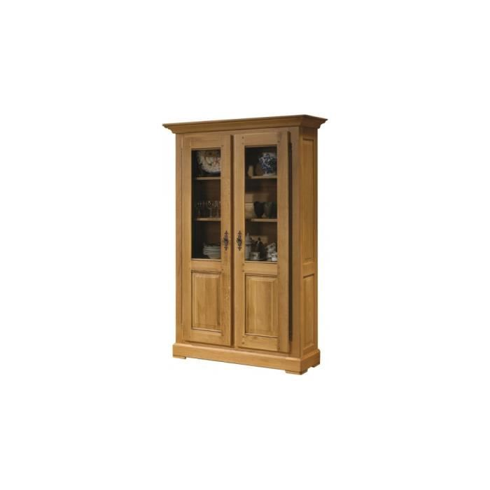 biblioth que 100 ch ne massif cir 2 portes vitr es achat vente biblioth que biblioth que. Black Bedroom Furniture Sets. Home Design Ideas